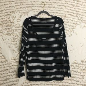 Pure Energy Stripped V Neck Long Sleeve T-shirt